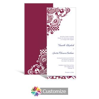 Checkered Orbs 3.625 x 8.875 Tea-Length Wedding Invitation