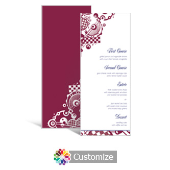 Checkered Orbs 3.625 x 8.875 Tea-Length Wedding Menu