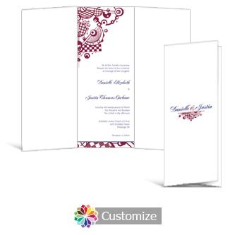 Checkered Orbs 3.625 x 8.875 Tri-Fold Wedding Invitation