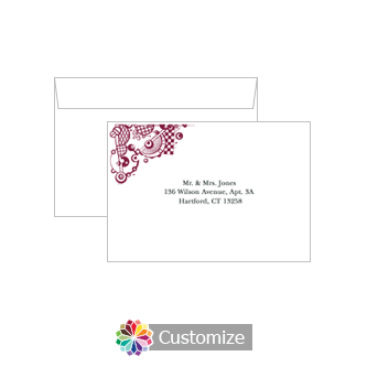 Custom Printing on Wedding Checkered Orbs Response Card Envelopes