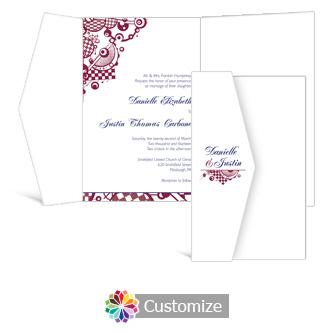 Checkered Orbs 5 x 7.875 Double Folded Wedding Invitation