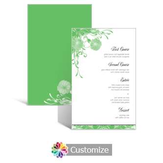 Floral Vines 5 x 7.875 Rectangle Flat Wedding Menu