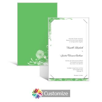 Floral Vines 5 x 7.875 Layered Rectangle w/Vellum Wedding Invitation