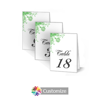 Floral Vines 2.5 x 3.5 Folded Wedding Table Number