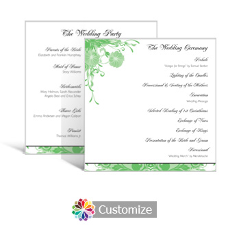 Floral Vines 5.875 x 5.875 Square Wedding Program
