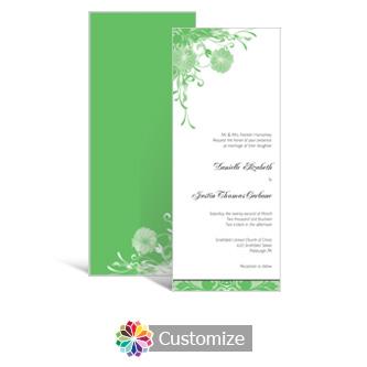 Floral Vines 3.625 x 8.875 Tea-Length Wedding Invitation