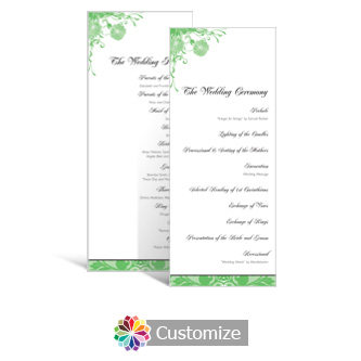Floral Vines 3.625 x 8.875 Tea-Length Wedding Program
