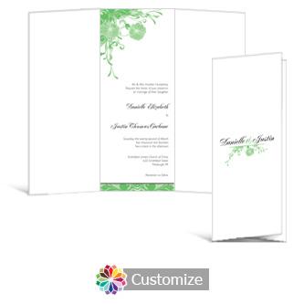 Floral Vines 3.625 x 8.875 Tri-Fold Wedding Invitation