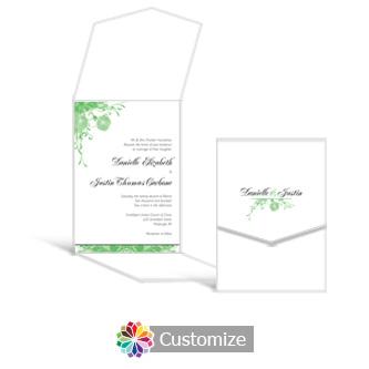 Floral Vines 5.25 x 7.25 Vertical Gate-Fold Wedding Invitation