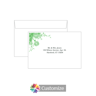 Custom Printing on Wedding Floral Vines Response Card Envelopes