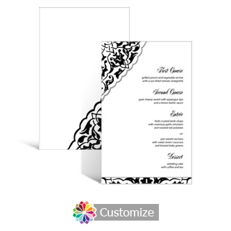 Ivy Lace 5 x 7.875 Rectangle Flat Wedding Menu