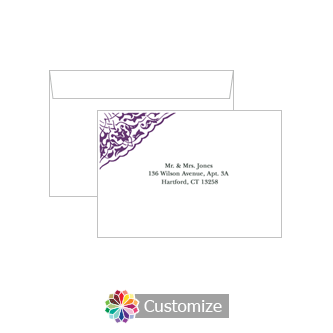 Custom Printing on Wedding Ivy Lace Response Card Envelopes