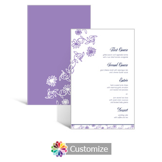 Lilac Flowers 5 x 7.875 Rectangle Flat Wedding Menu