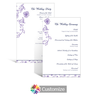 Lilac Flowers 5 x 7.875 Flat Wedding Program