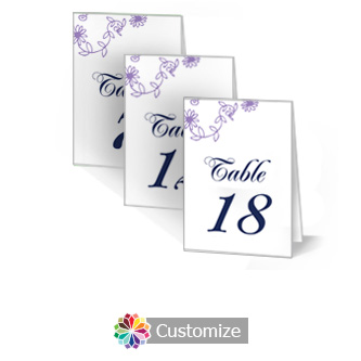 Lilac Flowers 3.5 x 5 Large Folded Table Number