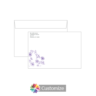 Custom Lilac Flowers Envelopes for Wedding Thank You Card