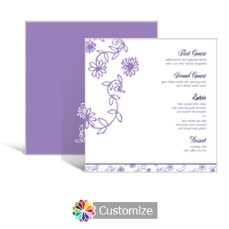 Lilac Flowers 5.875 x 5.875 Square Wedding Menu
