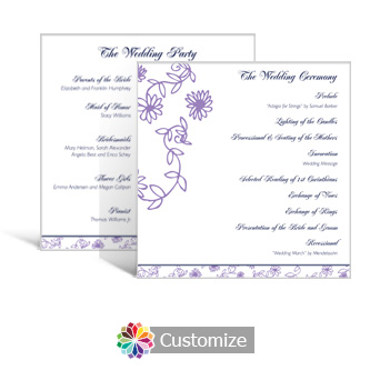 Lilac Flowers 5.875 x 5.875 Square Wedding Program