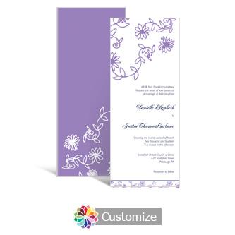 Modern Lilac Flowers Wedding Stationery Custom Wedding Invitations Invitatio