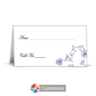 Lilac Flowers 3.5 x 2 Wedding Place Card