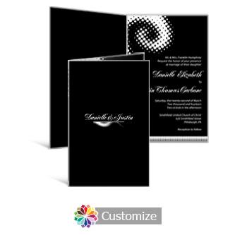 Matrix Swirl 5 x 7.875 Half-Fold Wedding Invitation