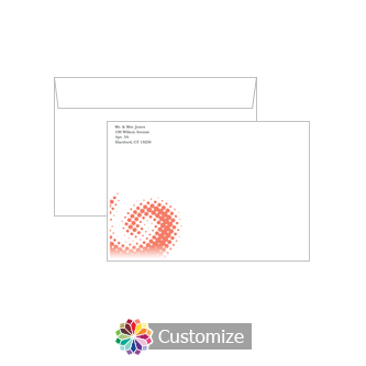 Personalized Matrix Swirl Envelopes for Wedding Thank You Card