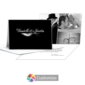 Matrix Swirl Wedding Thank You Card With Photo and Custom Greeting