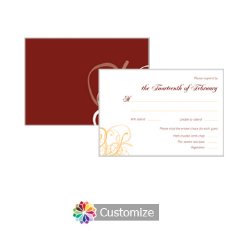 Ornate 5 x 3.5 RSVP Enclosure Card - Dinner Choice