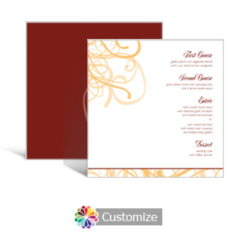 Ornate 5.875 x 5.875 Square Wedding Menu