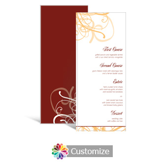 Ornate 3.625 x 8.875 Tea-Length Wedding Menu