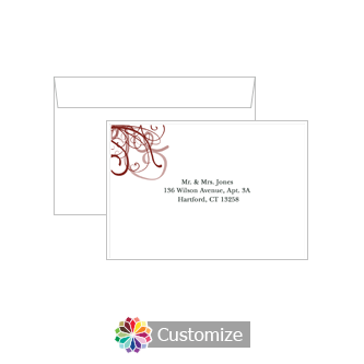 Custom Printing on Wedding Ornate Ribbon Response Card Envelopes
