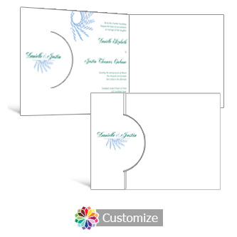 Spiral Wave 7.25 x 5.125 Folded Wedding Invitation