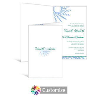 Spiral Wave 5 x 7.875 Half-Fold Wedding Invitation