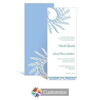 Spiral Wave 3.625 x 8.875 Tea-Length Wedding Invitation