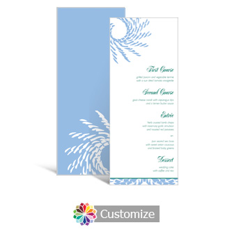 Spiral Wave 3.625 x 8.875 Tea-Length Wedding Menu