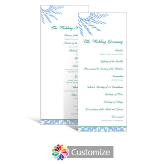 Spiral Wave 3.625 x 8.875 Tea-Length Wedding Program