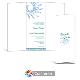 Spiral Wave 3.625 x 8.875 Tri-Fold Wedding Invitation