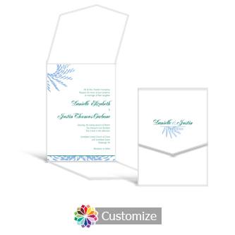 Spiral Wave 5.25 x 7.25 Vertical Gate-Fold Wedding Invitation