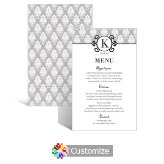 Monogram 5 x 7.875 Rectangle Flat Wedding Menu