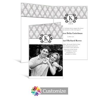 Monogram 5 x 7.875 Half-Fold Wedding Invitation