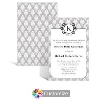 Monogram 5 x 7.875 Layered Rectangle w/Vellum Wedding Invitation