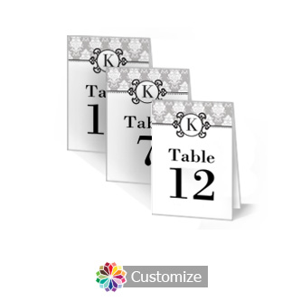 Monogram 2.5 x 3.5 Folded Wedding Table Number