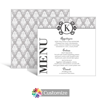 Monogram 5.875 x 5.875 Square Wedding Menu