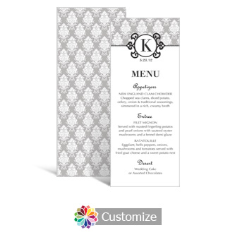 Monogram 3.625 x 8.875 Tea-Length Wedding Menu