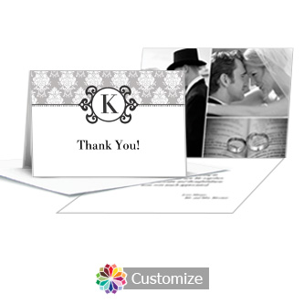 Monogram Wedding Thank You Card With Photo and Custom Greeting