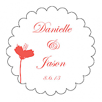 Orchid Scalloped Circle Wedding Labels