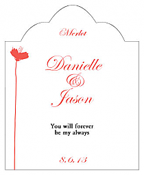 Orchid Scalloped Vertical Big Rectangle Wedding Labels