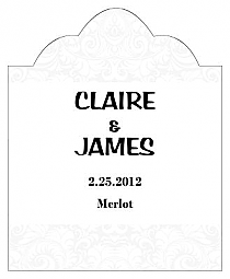 Paisley Scalloped Vertical Big Rectangle Wedding Labels