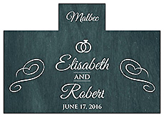 Personalized Chalkboard Rings Rectangle Wine Wedding Label 4.25x3