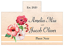 Personalized Coralbell Lace Rectangle Wine Wedding Label 4.25x3